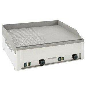 Elektro-Grillplatte,1/2 glatt/gerillt 66 x 54 x 22 cm 400V / 6,0kW Cookmax black