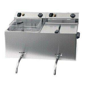 Elektro-Friteuse 2x10l mit Ablasshahn 400V 2x8,1kW Cookmax black