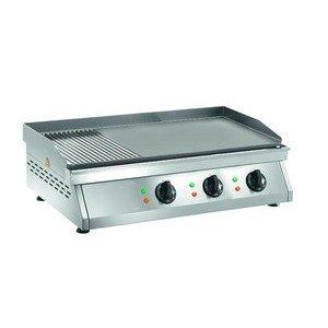 Elektro-Grillplatte 2/3 glatt + 1/3 gerillt Maße:840x500x200 mm Cookmax orange