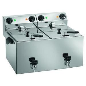 Elektro-Fritteuse, 2x 8lt., mit Ablassha 230V / 2x 3,25kW Cookmax orange