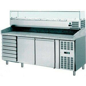Pizzatisch 2025 x 800 x 1450mm 230 V / 0,45 kW 2 Türen und 7 Schubladen Cookmax orange