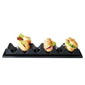 Snackpresenter schwarz 3 Mulden 29 x 19 cm, Höhe 6 cm Assheuer & Pott