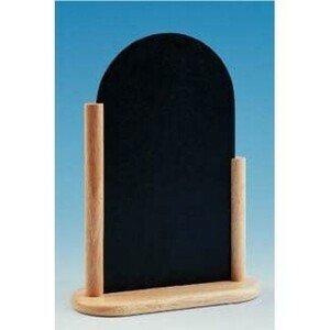 Tischaufsteller Tafel halbrund mit Holzgestell 16x21cm natur