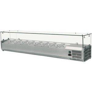 Kühl-Aufsatzvitrine für 7 GN 1/4 1500 x 335 x 435 230V / 0,13 kW Cookmax orange