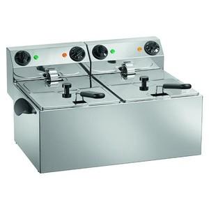 Elektro-Fritteuse, 2x 8lt. 230V / 2x 3,25kW Cookmax orange