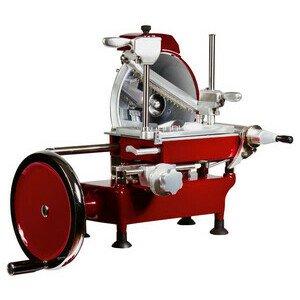 Aufschnittmaschine manuell Gehäuse Alu rot Messer Ø250mm Cookmax silver