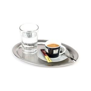 Serviertablett oval 26,5 x 19 cm Kaffeehaus Edelstahl matt/poliert Assheuer & Pott
