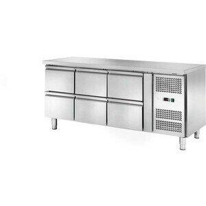 Kühltisch 417 l, ohne Aufkantung 6 Schub 1795 x 700 x 860 230 V / 0,30 kW Cookmax orange