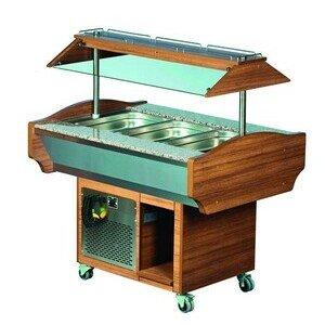 Buffet-Insel, gekühlte Wanne, 3 GN 1/1, 119,0 x 90,0 x 87,0/132,0 230 V / 0,550 Cookmax orange