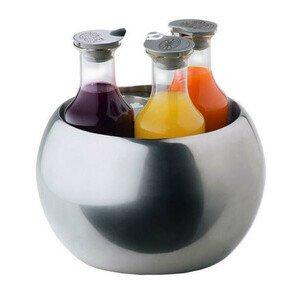 Edelstahlkühler 5tlg. Triplet m.3 Glasflaschen m.Deckel 1,2ltr. Frilich