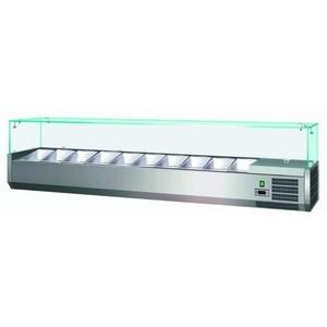 Kühl-Aufsatzvitrine 5 GN 1/4 1200x335x435mm 230V / 0,10 kW Cookmax orange