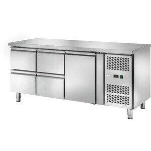 Kühltisch 417 l, ohne Aufkantung 1 Tür u 1795 x 700 x 860 230 V / 0,30 kW Cookmax orange