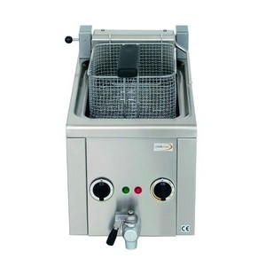 Elektro-Fritteuse 6lt, mit Ablasshahn, 2 230V / 3,2kW Cookmax black