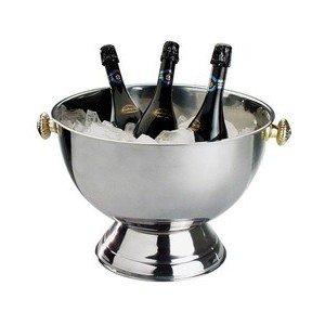 Champagner Kühler 18l 42x30cm Edelstahl Griffe Vergoldet Assheuer & Pott