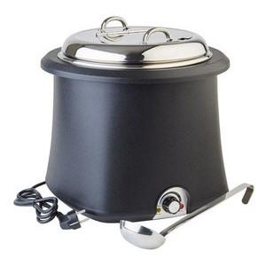Suppentopf 10ltr. schwarz elektr. m. Schöpfkelle 450-550 Watt /230 Volt Assheuer & Pott