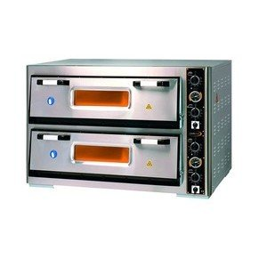 Pizzaofen 2 Backk., 12 Pizzen Ø 30 cm 119,0 x 88,0 x 76,0 400 V / 12,0 kW Cookmax orange