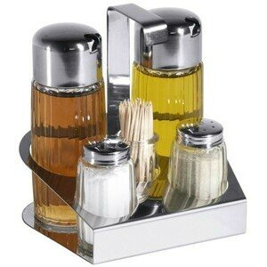 Menage 5-tlg. Essig, Öl, Salz & Pfeffer & Contacto