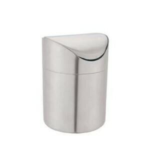 Tischabfallbehälter Edelstahl mit Schwingdeckel 12x16,5cm
