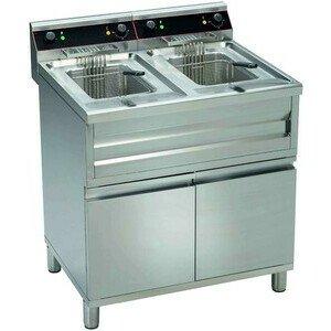 Elektro-Friteuse 2 x12 ltr. 80,0 x 70,0 x 85,0 400 V / 2 x 9,00 kW Cookmax orange