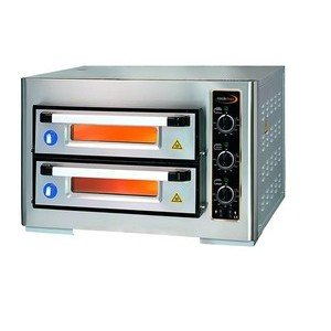 Pizzaofen 2 Backk., 8 Pizzen Ø 25 cm 80,0 x 77,0 x 50,0 400 V / 6,0 kW Cookmax orange