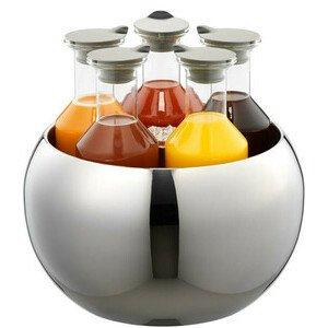 Edelstahlkühler 7tlg. Quintet m.5 Glasflaschen m.Deckel 1,2ltr. Frilich
