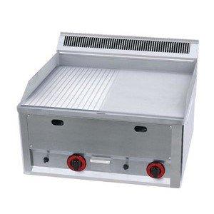 Gas-Grillplatte 1/2geriffelt 1/2glatt 660x600x290mm 8kW Cookmax black