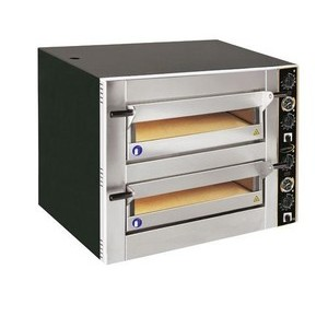 Pizzaofen für 8 Pizzen Ø 30 cm 2 Backkammern, 400 V 10 kW Cookmax black
