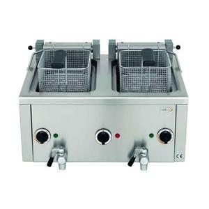 Elektro-Fritteuse 2x 7lt, mit Ablasshahn 400V / 12,0kW Cookmax black
